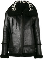 Balenciaga Le Bombardier leather jacket - women - Calf Leather/Lamb Fur - 34