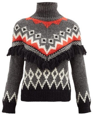 Moncler Mock-neck Tasseled And Jacquard Sweater - Grey Multi