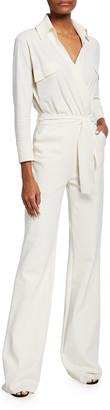 Chiara Boni Tierra Long-Sleeve Belted Wide-Leg Jumpsuit