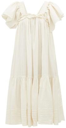 Story mfg. Aida Ruffled Linen-blend Dress - Ivory
