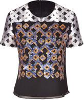 Peter Pilotto Black-Multi Sequined Silk Georgette Tilda Top