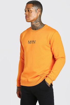 boohoo Mens Orange Original MAN Crew Neck Sweatshirt, Orange