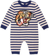 Gucci Baby tiger intarsia wool sleepsuit