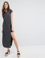 Brave Soul T-Shirt Maxi Dress With Split