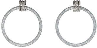 Balenciaga Grey and Silver Medium Hoop Earrings