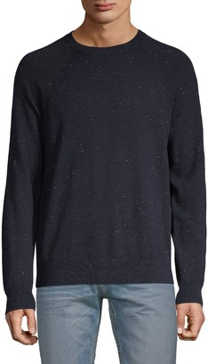 Vince Flecked Long-Sleeve Cotton & Wool Sweater