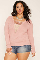 Forever 21 Plus Size Lace-Up Sweater