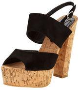 Glamorous Platform Two Strap Sandals In Black Size UK 7