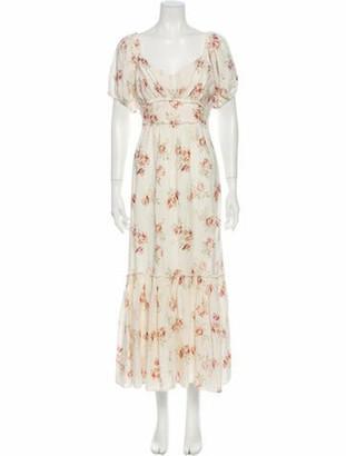 LoveShackFancy Floral Print Long Dress