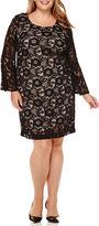 Robbie Bee Long-Sleeve Lace Sheath Dress - Plus