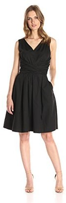Lark & Ro Amazon Brand Women's Sleeveless Cross-Front Fit and Flare Dress