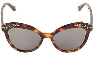 Roberto Cavalli 52MM Ridged Tortoiseshell Cat Eye Sunglasses