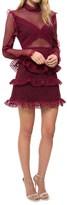Self-Portrait Dot Mesh Tiered Mini Dress