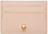 Alexander McQueen Pink & Gold Lino Skull Card Holder