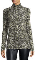 Club Monaco Julie Leopard-Print Turtleneck Top