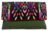 Green Cotton Clutch Bag with Multi Color Flap, 'Chichicastenango Geometry'