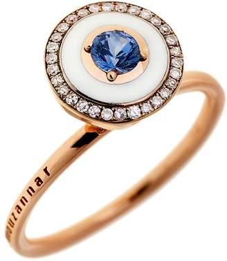 Selim Mouzannar Ivory Enamel, Blue Sapphire and Diamond Pavé Ring - Rose Gold