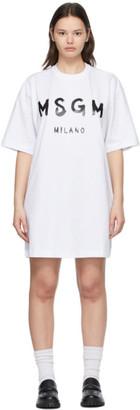 MSGM White Milano Brush Logo Dress