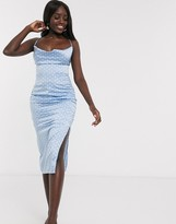 In The Style x Laura Jade satin cowl neck midi dress in blue polka