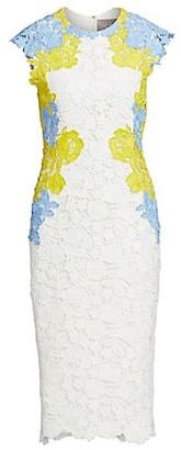 Lela Rose Lace Applique Fitted Sheath Dress