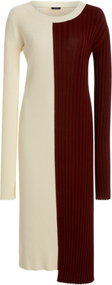 Joseph Diane Color-Block Stretch-Knit Midi Dress