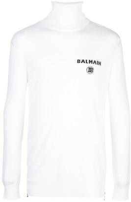 Balmain logo intarsia turtleneck jumper
