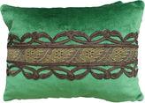 One Kings Lane Vintage Green Silk Velvet Pillows w/ Trim
