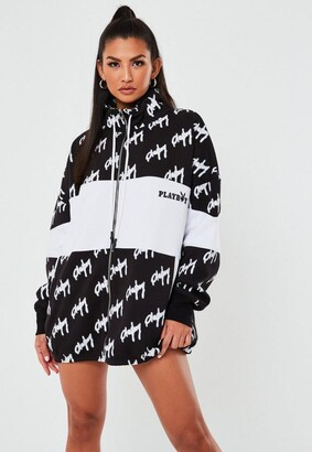 Missguided Playboy X Black Repeat Print Zip Through Oversized Sweater Dress