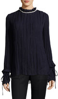 Nina Ricci Shell-Embellished Crinkled Georgette Blouse, Purple
