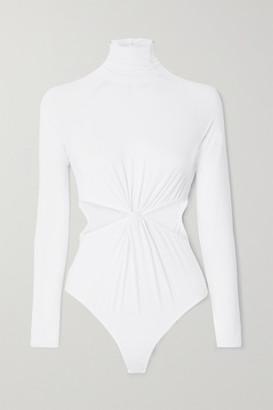 Marika Vera Laura Cutout Stretch-jersey Turtleneck Thong Bodysuit - White