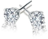 Bliss 18k White Gold Cz Round Faceted 4 Prong Post Earring.