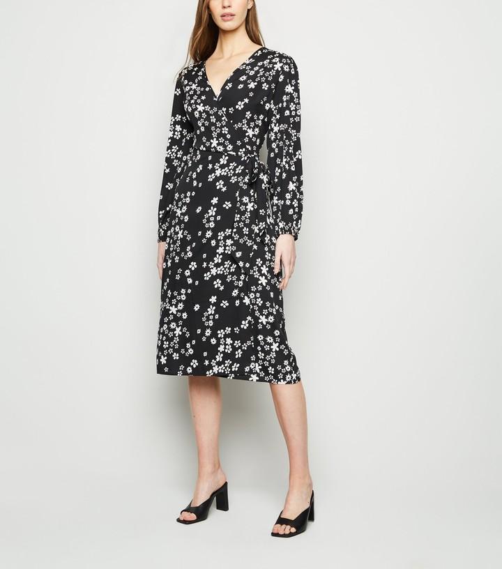 New Look Floral V Neck Midi Belted Wrap Dress