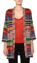 Missoni Open-Front Multicolor Metallic Knit Oversized Cardigan