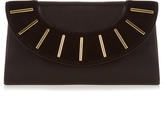 Diane von Furstenberg Bar-stud leather and suede envelope clutch