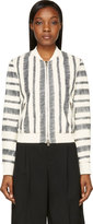 3.1 Phillip Lim White Sketched Stripe Leather Bomber Jacket