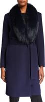Fleurette Fox Fur Shawl-Collar Wool Wrap Coat