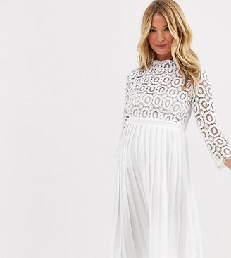 Little Mistress Maternity midi length 3/4 sleeve lace dress in white