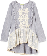 Little Mass Heather Gray & Ivory Harmony Hi-Low Tunic - Toddler & Girls