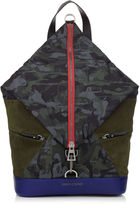 Jimmy Choo FITZROY Forest Green Mix Camouflage Print Nylon and Suede Backpack