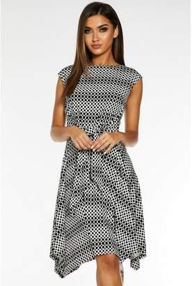 Quiz Black and White Geometric Print Skater Dress
