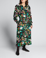 Thumbnail for your product : Proenza Schouler White Label Painted Floral-Print Shirtdress