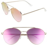 Quay Dragonfly 52mm Mirrored Aviator Sunglasses