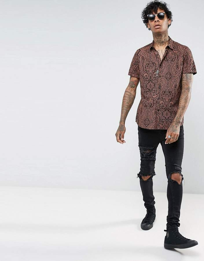 Asos Regular Fit Viscose Shirt With Paisley Print