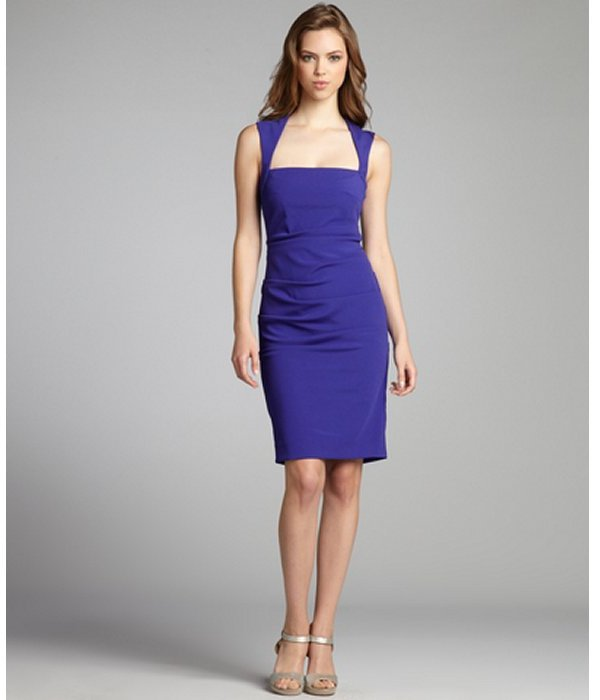 Nicole Miller amethyst textured jersey knit ruched sleeveless dress