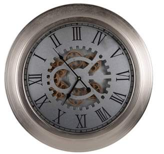 A&B Home Large Hereford Round Wall Clock Silver