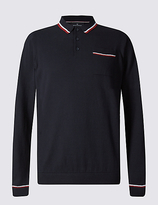 Blue Harbour Pure Cotton Contrasting Edge Polo Jumper