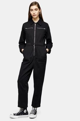 Topshop Womens Black Utility Boiler Suit - Black