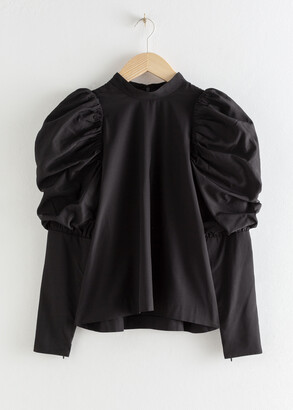 And other stories Puff Shoulder Mock Neck Blouse
