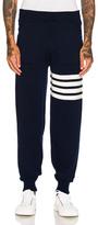 Thom Browne Cashmere 4 Bar Stripe Sweatpants in Blue.