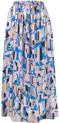 Emilio Pucci Geometric Print Pleated Midi Skirt